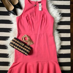 NWT AnnTaylor Sexy Dress w Flippy Skirt Coral-pink